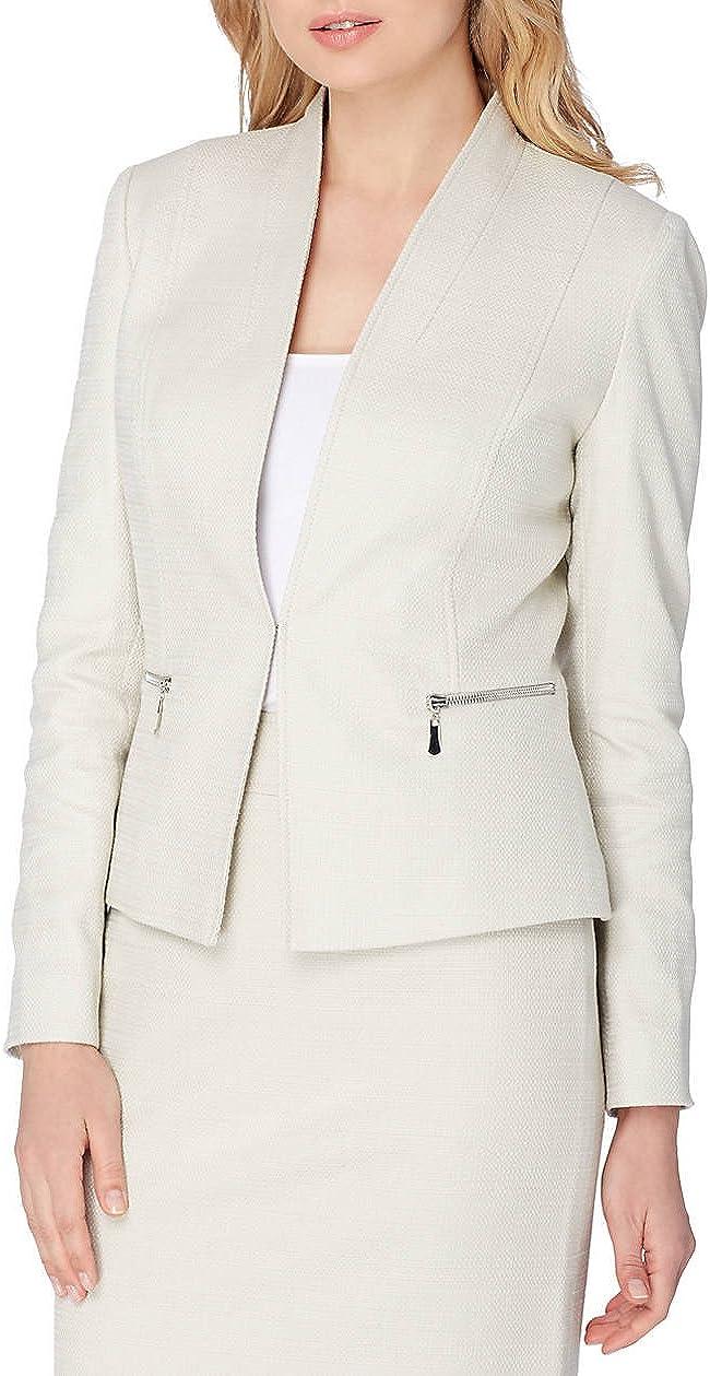 Tahari ASL Novelty Linen Flyaway Jacket