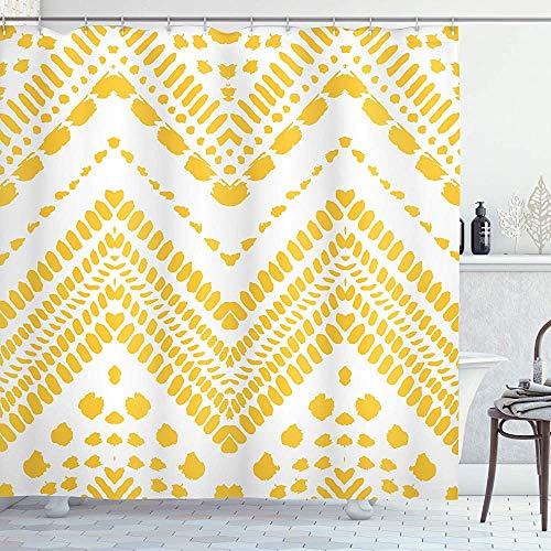Gele Chevron douchegordijn handgetekende Aztec patroon motief met gestippelde lijnen doek stof badkamer Decor Set met haken mosterd wit 66 * 72in