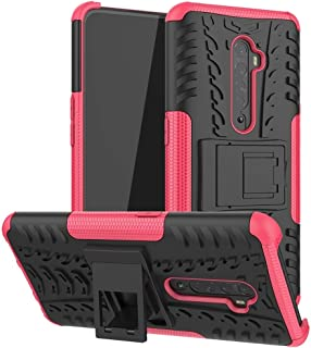 For OPPO RENO 2 Tire Texture TPU + PC Shockproof Case with Holder New(Pink) Hopezs (Color : Orange)