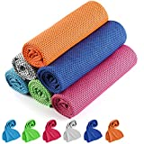 [6 Pack] Cooling Towel ,Cooling Towels for Neck and Face, Microfiber Ice Towel Soft Breathable Camping Towel for Yoga, Sport, Running, Gym, Golf, Workout, Camping, Fitness & More Activities