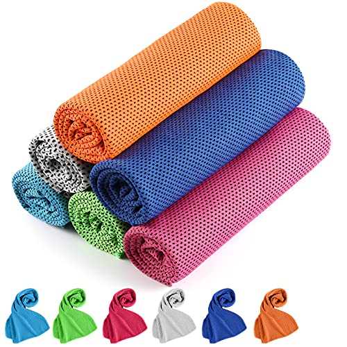 Cooling Towel, Cooling Towels for Neck 6 Pack, Golf Cooling Towel, Instant Cooling Camping Towel Soft Breathable Towel for Yoga Sport Running Gym Workout Fitness