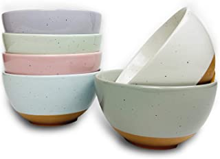Mora Ceramic Small Dessert Bowls - 16oz, Set of 6 - Microwave, Oven and Dishwasher Safe, For Rice, Ice Cream, Soup, Snacks...
