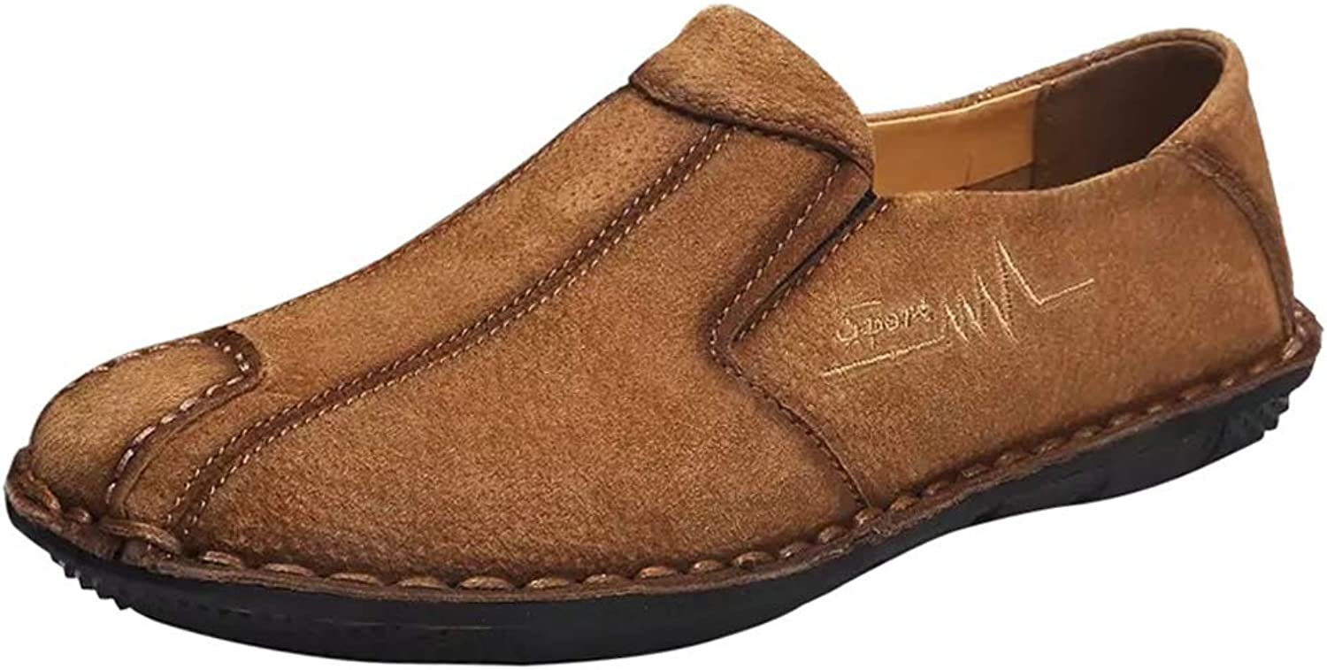 LXJL Men's shoes 2019, Spring new leather shoes men's breathable casual set feet lazy bean shoes,Brown,44