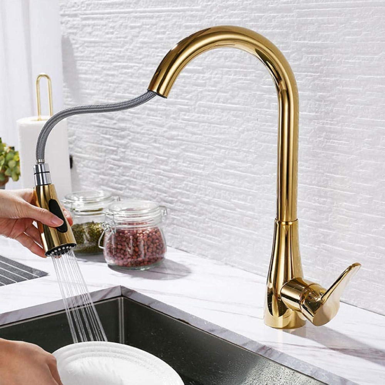 VerGoldete Messing Küchenarmatur Einhand Deck montiert Rotation Sink herausziehen Wasser Mischbatterie