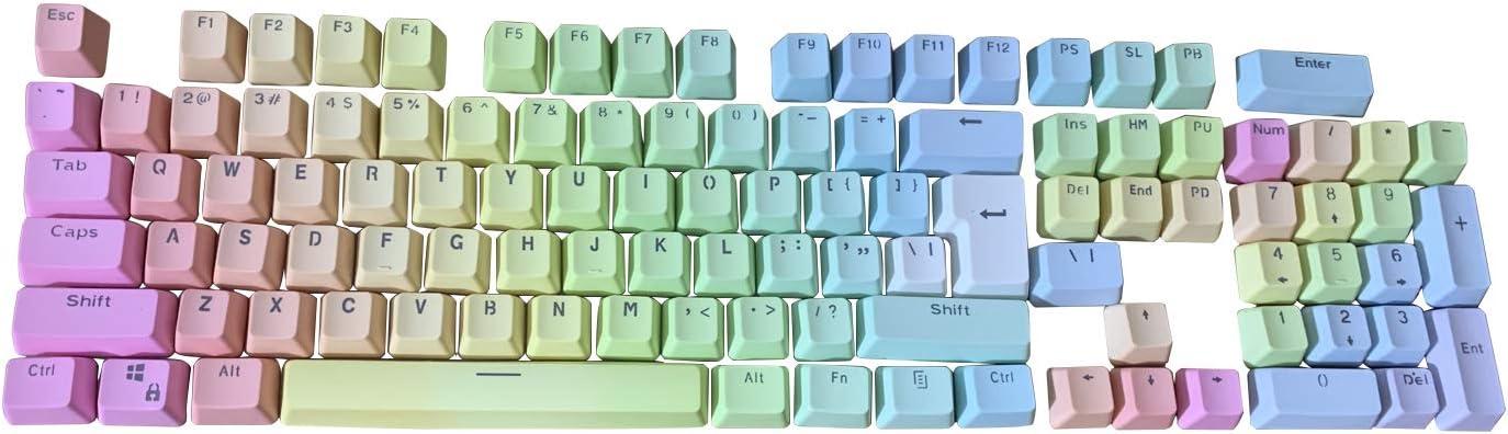 Feicuan 104 Teclas Keycap PBT Gradient Retroiluminado Perfil OEM Key Cap Reemplazo Keys Cover para Teclado mecánico para Juegos MX Switches - Rainbow