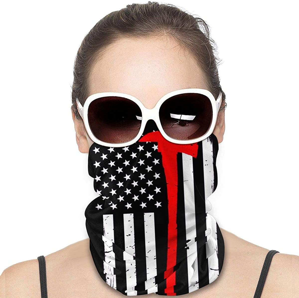 Bandana Face Mask - Firefighter Flag Thin Red Line Axe Motorcycle Mask Ski Mask Face Scarf Head Bands Neck Gaiters for Men Headband Sun Mask