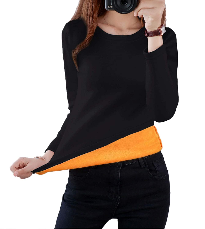 Flygo Women's Thermal Underwear Tops Round Neck Fleece Lined Baselayer Shirts