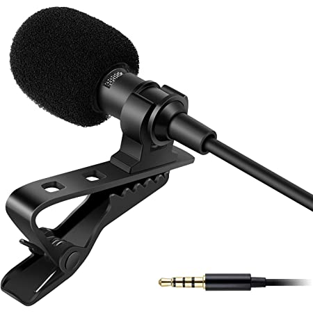 Generic Collar Mic Voice Recording Filter Microphone for Singing YouTube Smartphones, Black