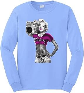 Men's Classy Tattoo Marilyn Monroe Boombox Long Sleeve T-Shirt