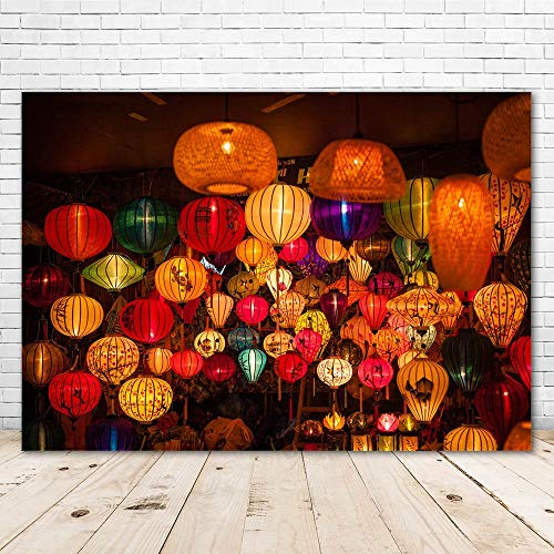 Asian Vietnam Chinese Lanterns Photography Backdrop Colorful Lanterns Chinese Lunar New Year Backdrop Spring Festival Eve Photo Background Family Reunion Kids Celebration Holiday Party Banner
