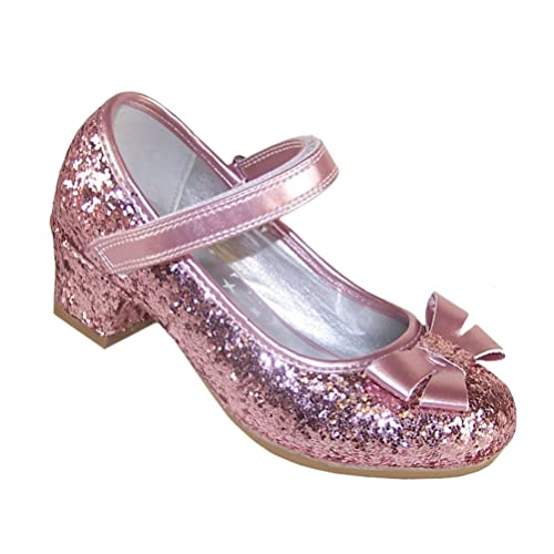 6943a0b7d309 Girls Childrens Pink Sparkly Glitter Party Low Heeled Mary Jane Special  Occasion Shoes Wedding Bridesmaid