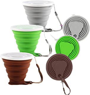 OMAITA 3pcs Silicone Collapsible Cup Folding Travel Cup Set Reusable Drinking Cup with Lid for Camping Backpacking Outdoor...
