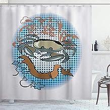 ZORMIEY Cortina de Ducha,Signo de cáncer en Estilo de Tatuaje de Dibujos Animados Tema astrológico con Detalles Florales Horóscopo Multicolor,Resistente al Agua de Baño Impermeable 180 x 180 cm