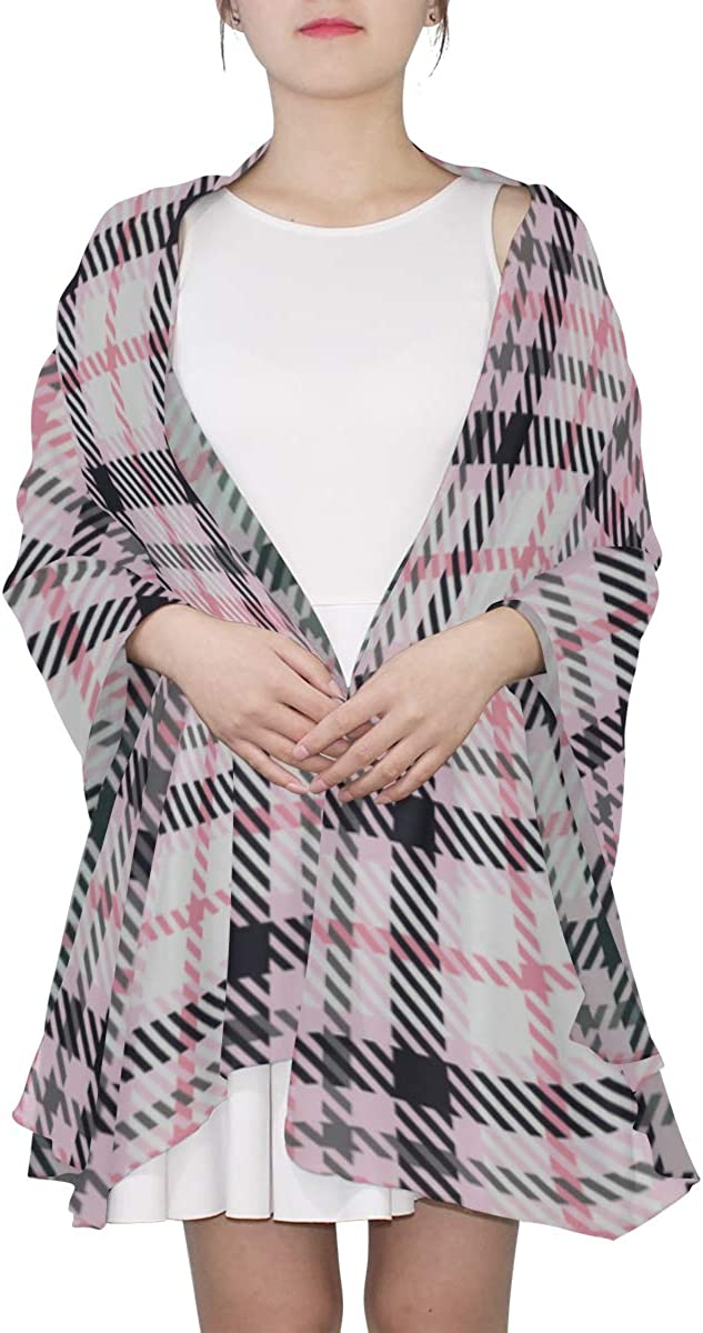 Girls'pink Lattices Unique Fashion Scarf For Women Lightweight Fashion Fall Winter Print Scarves Shawl Wraps Gifts For Early Spring