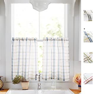 Classic Plaid Kitchen Curtains Checkered Design Gingham Linen Textured Green and Taupe Striped Half Window Curtains for Bathroom, 2pcs 24 inches Length