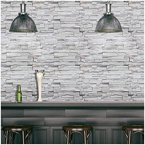 libby-nice Vintage Imitation Grey Brick Wallpaper , 3D Selbstklebende Tapeten , Wohnkultur Cafe Restaurant Hotel House Decor Wandaufkleber