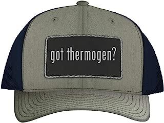 One Legging it Around got Thermogen? - Leather Black Metallic Patch Engraved Trucker Hat