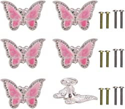 RUN 6 Pieces Butterfly Knobs Metal Decorative Cabinet Drawer Cupboard Furniture Door Single Hole Pulls Handles (Pink)
