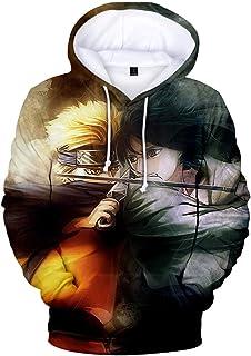 PANOZON Uomo Felpe con Cappuccio Stampato Figura di Naruto Maniche Lunghe