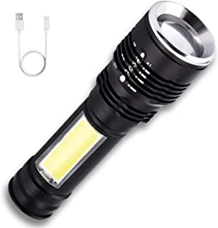 Flashlights Rechargeable USB AUSELECT Portable Ultra Bright Zoomable Tactical Flashlight with LED COB Work Light Emergency...