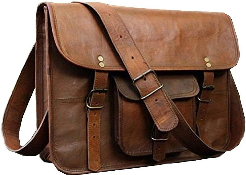 15  Handmade Women Vintage Style Genuine Brown Leather Cross Body Laptop Shoulder Bag