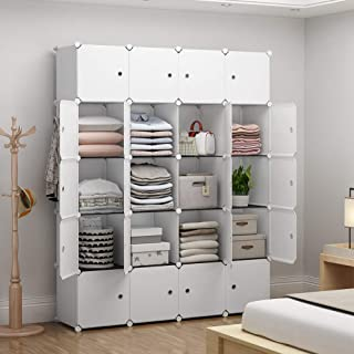 YOZO Modular Closet Portable Wardrobe Dresser Teens Kids Chest Drawer Ployresin Clothes Storage Organizer Cube Shelving Unit Multifunction Toy Cabinet Bookshelf DIY Furniture, White, 20 Cubes