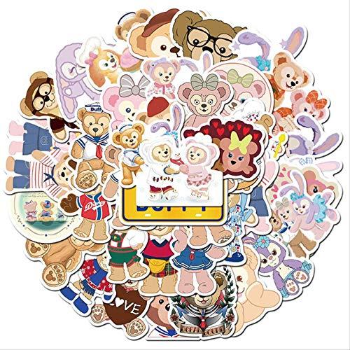 HONGC Divertidas Pegatinas de Oso Duffy, Conejo de Ballet, Equipaje para Ordenador portátil, monopatín, Guitarra, Stikers Impermeables para niños, Juguetes de Disney, 40 Piezas