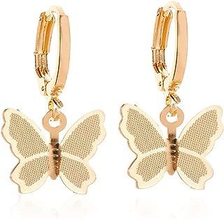 Elegant Scrub Butterfly Hoop Earrings. 14K Gold Silver Butterfly Dangle Earrings, Charm Animal Butterfly Huggie Drop Earrings for Women