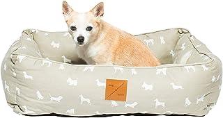 Mog & Bone Bolster Dog Bed Oatmeal Designer Dog Print Large