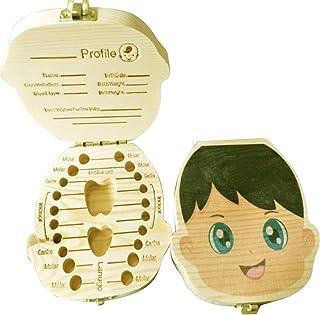 Morninganswer Boîte à dents de lait en bois avec impression colorée anglaise - Organiseur ombilical - Cadeau de bébé