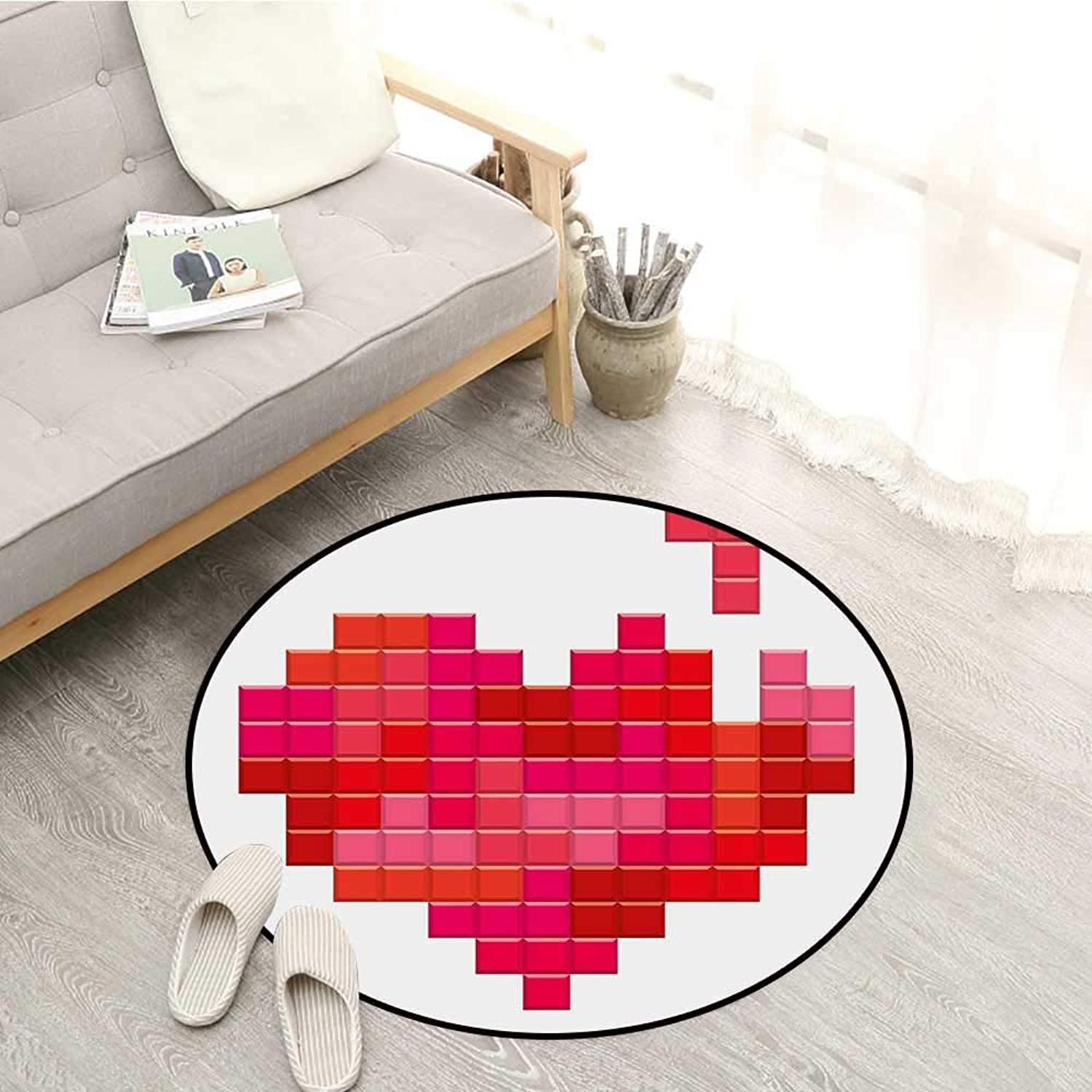 Valentines Day Skid-Resistant Rugs Video Game Tetris Red Heart Vintage Pixelated Design Joyful Romantic Sofa Coffee Table Mat 4'3  Red Pink Scarlet