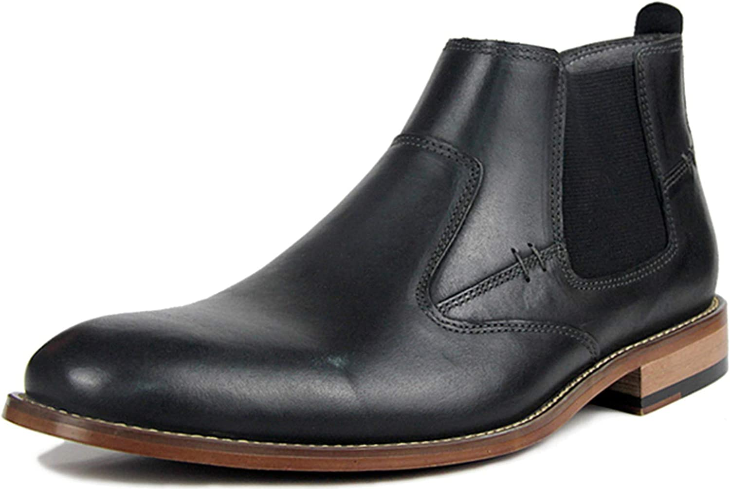 JIONS Mens Retro Leather Chelsea Boots Slip-on Dress Casual Ankle shoes 13 Size