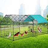 Chicken Coop, Large Metal Walk-in Poultry Cage Kennel with Waterproof & Anti-Ultraviolet Cover Outdoor Backyard Hen Run House Rabbits Ducks Pet Playpen Enclosure for Small Animals