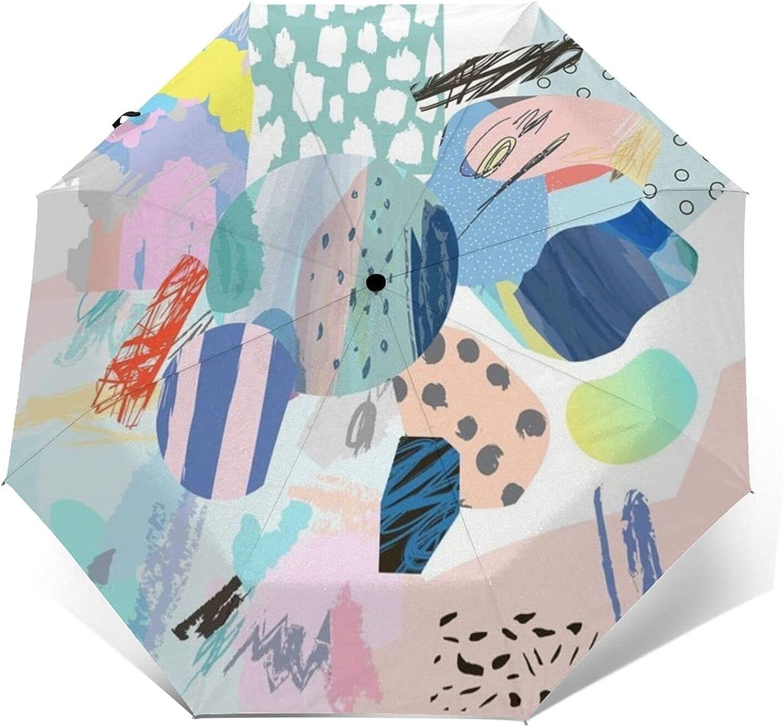 Modern Graphic Automatic Tri-Fold Backpack Folding Umbr Umbrella Popular popular Department store