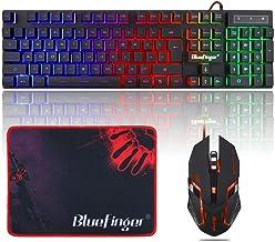 صفحه کلید بازی RGB و Backlight Mouse Combo ، صفحه کلید دارای نور پس زمینه با سیم USB BlueFinger ، صفحه کلید گیمینگ LED برای بازی و کار رایانه ای لپ تاپ