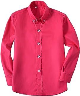 قميص Edooli Kids Dress Shirt للأولاد بأكمام طويلة بأزرار سفلية قميص رسمي للأطفال الصغار وردي فاقع مقاس 7