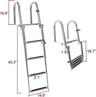 NovelBee 4 Steps Heavy Duty Welded 316 Stainless Steel Pontoon Boat Ladder,Folding Telescoping Rear Entry Dock Ladder with Wide Step,Inboard Handrail and Screws