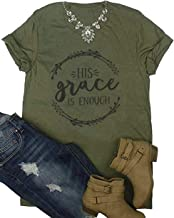 His Grace is Enough Shirt Funny Christian Graphic Tee Women Letter Print Short Sleeve Religion Tops