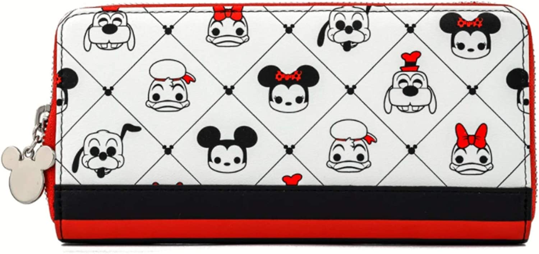Loungefly Disney Sensational 6 AOP Zip Around Vegan Leather Wallet, White, Medium