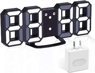 EVILTO 3D Digital Alarm Clock+ Charging Plugs,Modern Night Light Clock, Best Decorative LED Number Time Clock for The Wall, Table, Bedside, Desk. Modern Unique Design Alarm Clock £¨Black£