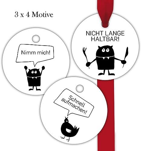 10x12 lustige, runde überraschungs Geschenkanh er   Geschenkkarten   Papieranh er   Etiketten in Kreis Form Format 6,6 x 6,6cm mit Huhn und Katze  Schnell aufmachen    Nicht lange haltbar    Nimm mich
