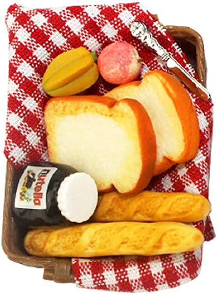 1//12 MINIATURE DOLL HOUSE TOAST FRUIT FOOD KITCHEN WITH BASKET MODEL TOY ALL