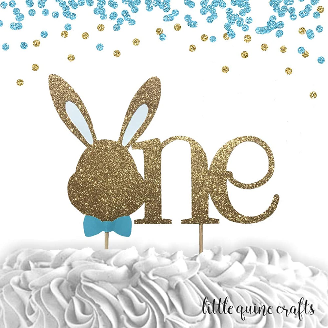 1 pc Bunny Head ONE blue Gold Glitter Cake Topper for Birthday Baby Boy Some Bunny is One theme