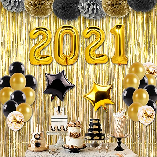 """2021 Graduation Decorations Black Balloons - Included 40 Inch """"2021"""" Balloon, Gold Black Gold Glitter Latex Balloons,Foil Star Balloons,Gold Laser Curtain and Paper Flower Ball for Grad Party Favors"""