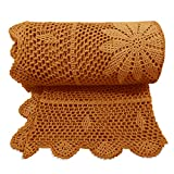 Zenviro The Boho Throw Earth 50x60 100% Hand Made Cotton Lightweight Decorative Knitted Crochet Macrame Throw Blanket - Couch, Chair, Sofa, Bed, Picnics, Gift, Photography
