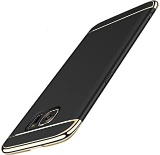 Galaxy S6/S6 Edge Case slim cover Anti-Scratch Protection 3 in 1 Hard Mobile Phone Ultra with Electroplate Frame for Full Protective Samsung Galaxy S6 Edge Plus 360 Coverage (S6 Edge, Black)