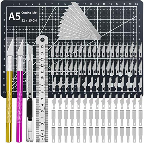 Precision Craft Knife Upgrade Exacto Knife Hobby Knife Kit de cuchillos Exacto Gray Cutting Mat 110 cuchillas de repuesto Exacto Cuchillas para Arte, Scrapbooking, Stencil,...