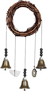 Witch Bells Door Decor Witchcraft Supplies - Home Decor Clearance Witchy Gifts with Protection Witchcraft Crystal & Witches Brass Bells, Witchy Things Block Negative Energy with Room Pentagram Decor