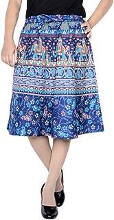 Skirt Women Cotton Skirt Knee Length Skirt Ethnic Style Elastic Skirt