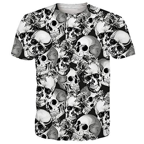RAISEVERN Negro Blanco Hombres Mujeres Camiseta Impresas en 3D tee Tops Casuales de Manga Corta, cráneo